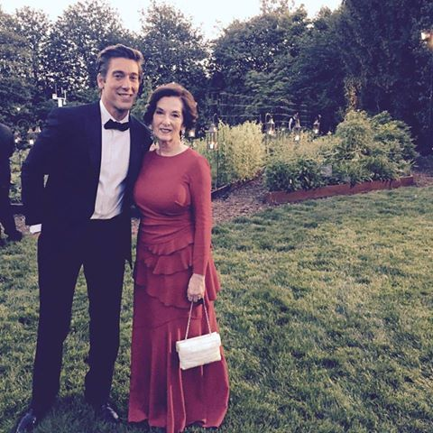 With his mother-attended White House state dinner David Muir's photo.