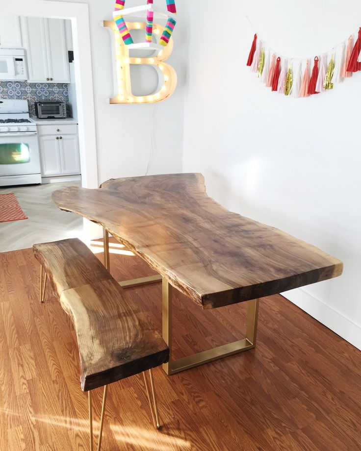 Kitchen Bench Waterfall Edge: Best 25+ Wood Slab Table Ideas On Pinterest