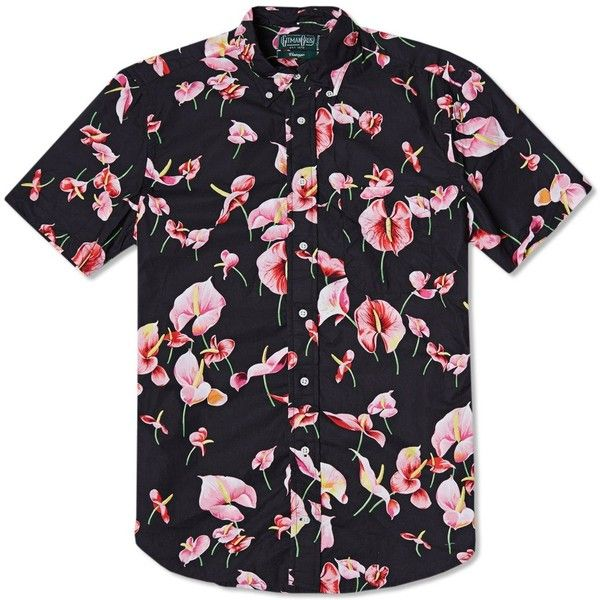 Gitman Vintage Flamingo Flower Short Sleeve Shirt ($140) ❤ liked on Polyvore…