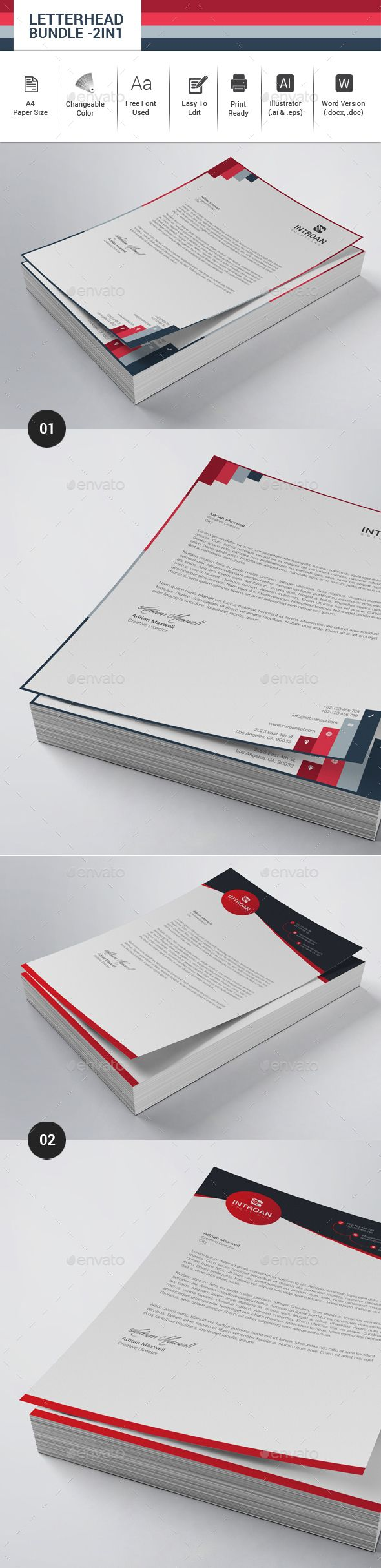 Letterhead Design Bundle - 2in1 - Stationery Template Vector EPS, Vector AI. Download here: http://graphicriver.net/item/letterhead-bundle-2in1/16435302?s_rank=144&ref=yinkira