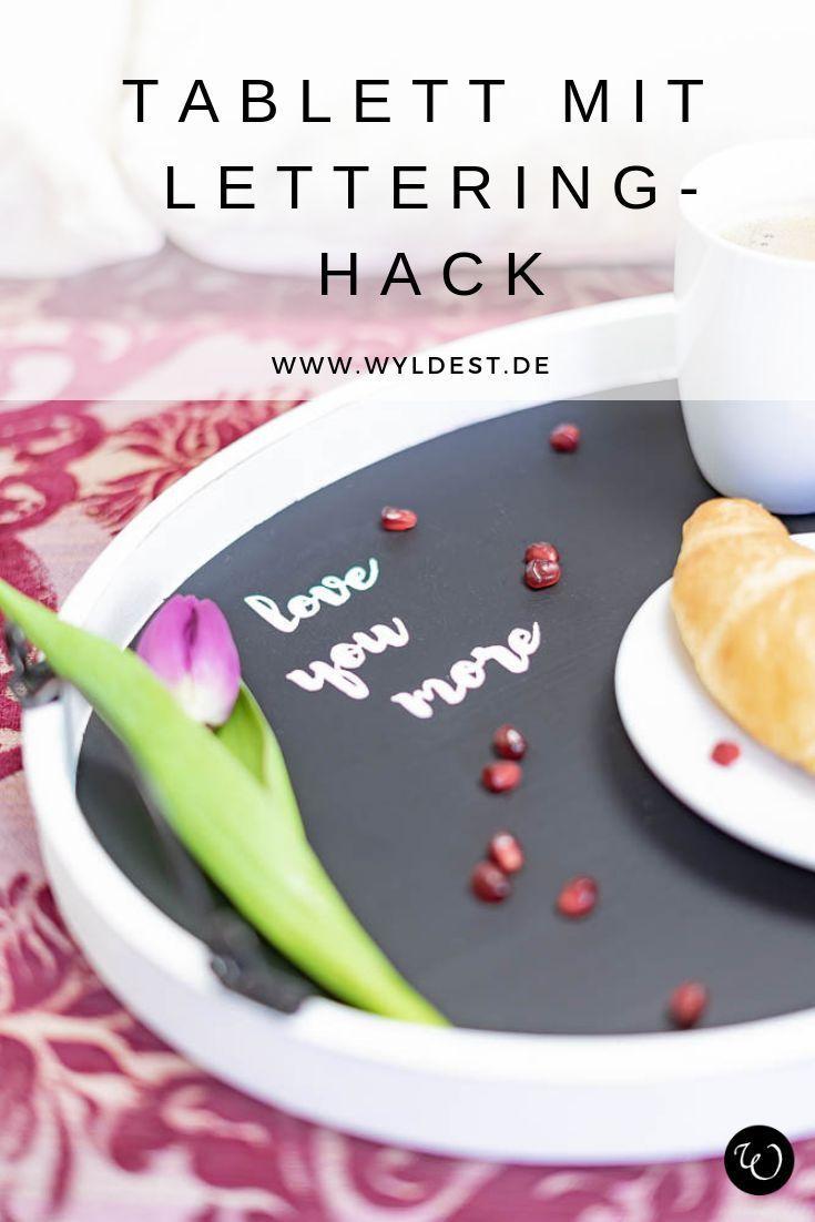 DIY Valentinstag Geschenk: Tablett mit Handlettering I