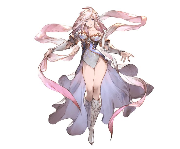 1girl bangs bare_shoulders blonde_hair blue_eyes boots breasts cleavage collarbone full_body gabriel_(granblue_fantasy) granblue_fantasy knee_boots large_breasts leotard long_hair looking_at_viewer minaba_hideo official_art overskirt smile standing transparent_background vambraces