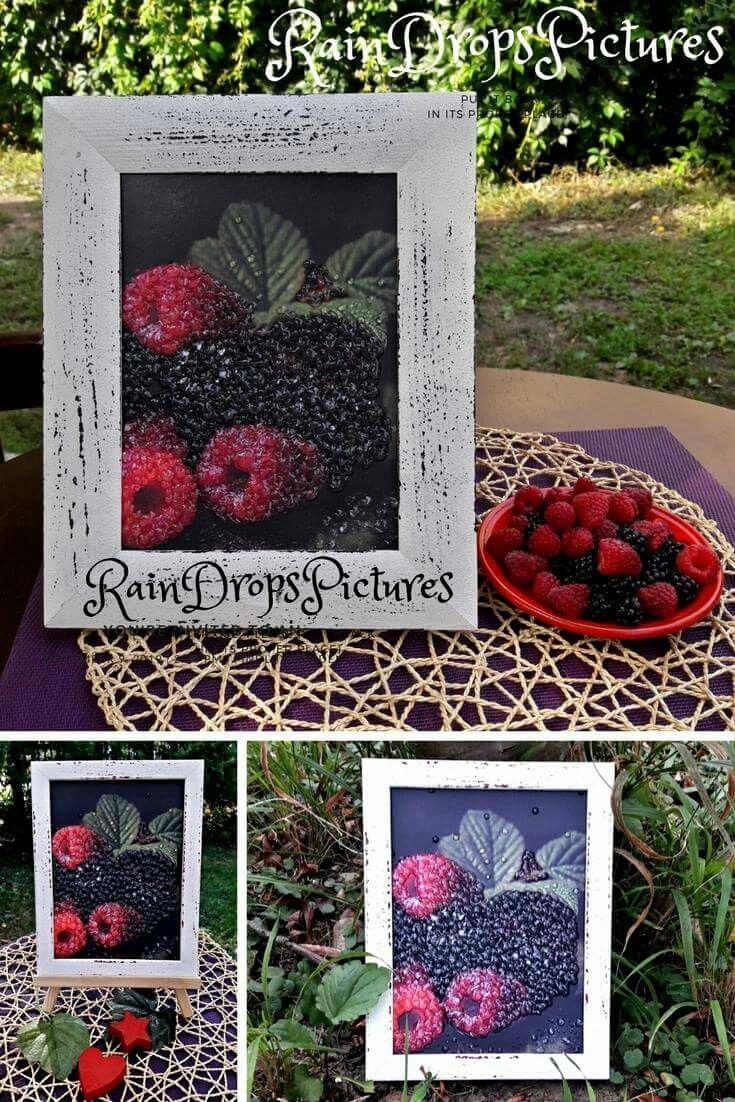Raspberry Rustic Home Botanical wall decor 3D wall art raspberry picture decoupage 3D Frame no glass Decor interior raspberry Rustic Home