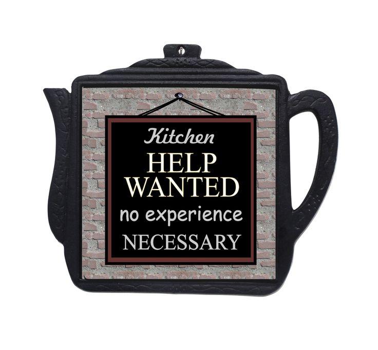 Kitchen Help Wanted Sign Kitchen Decor Trivet Wall