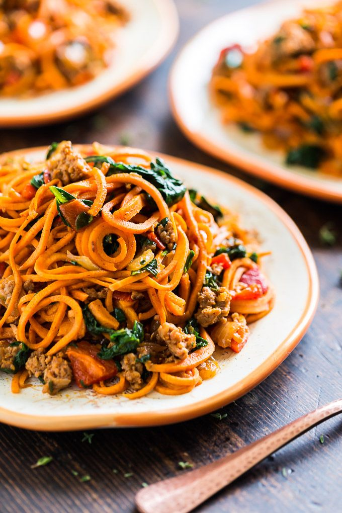 Sweet Potato Noodles with Chorizo, Roasted Red Pepper, and Spinach | Get Inspired Everyday!