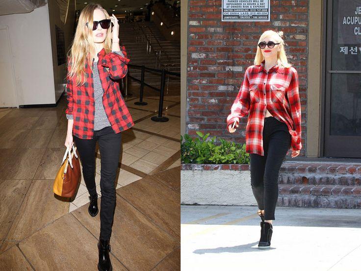 Два образа в стиле гранж, четные узкие брюки, и красная рубаха в клетку