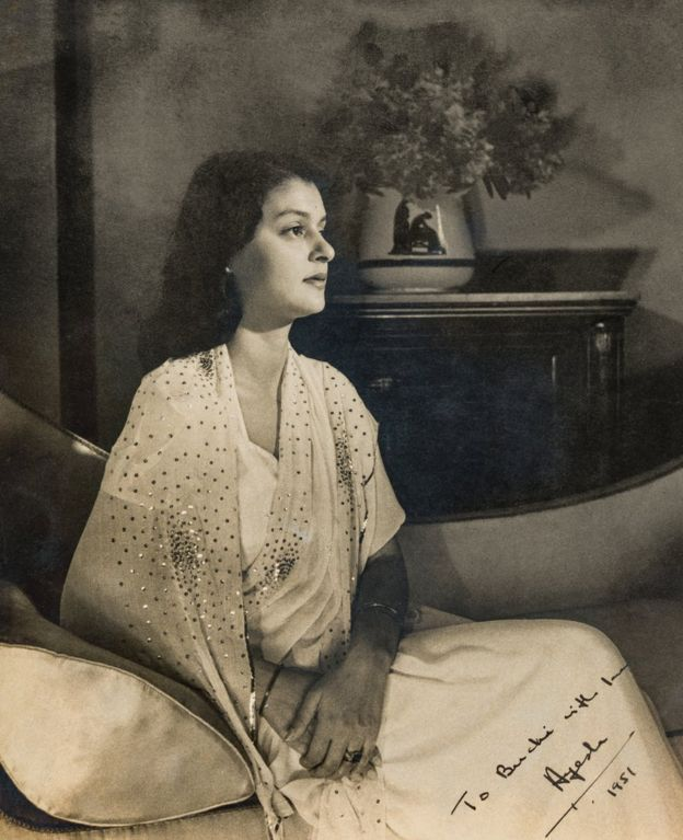 Maharani Gayatri Devi of Jaipur, also known as Princess Ayesha of Cooch Behar, photographed by Derek Adkins in 1951. Courtesy MAP/Tasveer