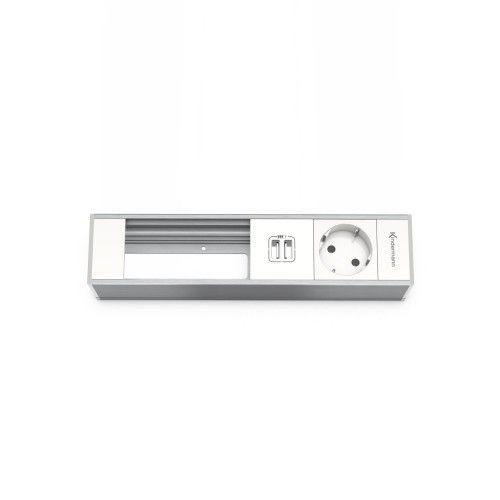 Tafelbox met 1x stroom, 2x USB oplaad module en.....Vul die zelf maar in!   Tafel inbouwdoos met 1x stroom en een USB lader aansluiting. Deze 4-voudige modulehouder van Kindermann is voorzien van 1x een 220 Volt aansluiting, 1x een dubbele USB loader om 2 USB apparaten op te kunnen laden en 2 lege ruimtes, geschikt om 2 adapter modules (4 halfsize) (Konnect flex click) in te plaatsen. Je kunt vrijwel elk type aansluiting in de modulehouder klikken. Voor de module houders zijn diverse…