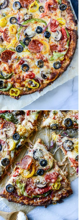 Cauliflower Crust Pizza Supreme! by @howsweeteats  I howsweeteats.com