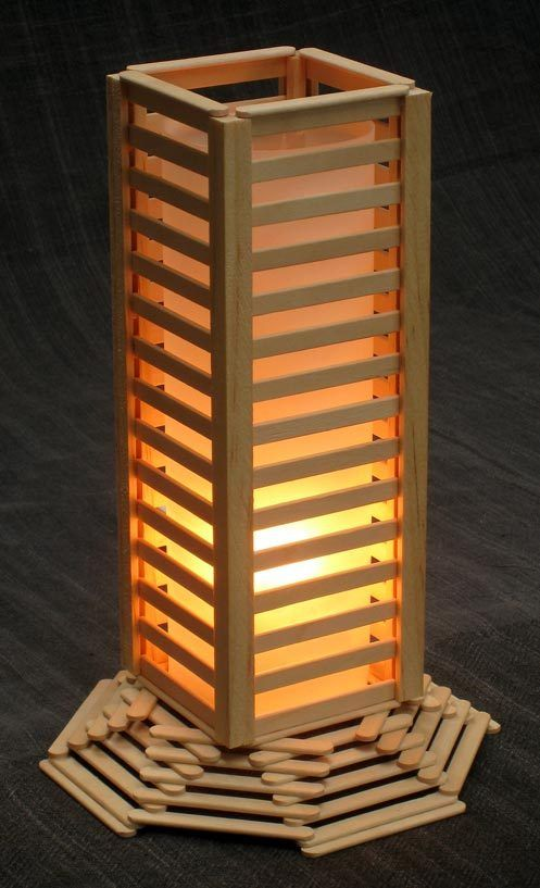 Night lamp made of popsicle sticks