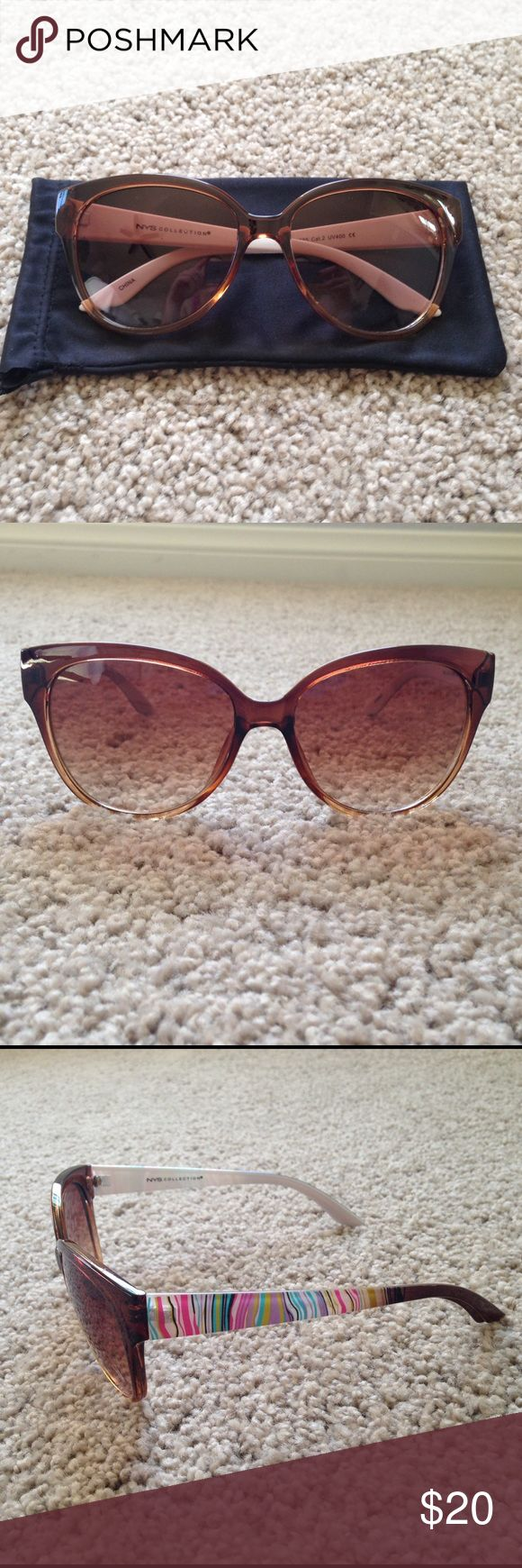 NWOT NYS Sunglasses NWOT!!! Never worn!!! NYS collection sunglasses! Brown frame with colorful stripped bows! These are adorable!!! Comes with pouch for protection!! Accessories Sunglasses