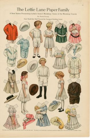 The Lettie Lane Paper Family: Some of the Wedding Guests  paper doll  1910  Artist :  Sheila Young: