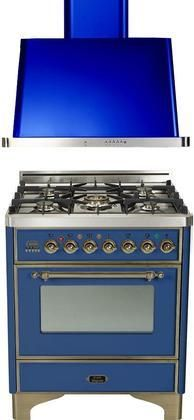 """2-Piece Midnight Blue Kitchen Package with UM76DVGGBLY 30"""" Freestanding Gas Range (Oiled Bronze Trim 5 Burners Timer) and UAM76BL 30"""" Wall Mount Range Hood"""