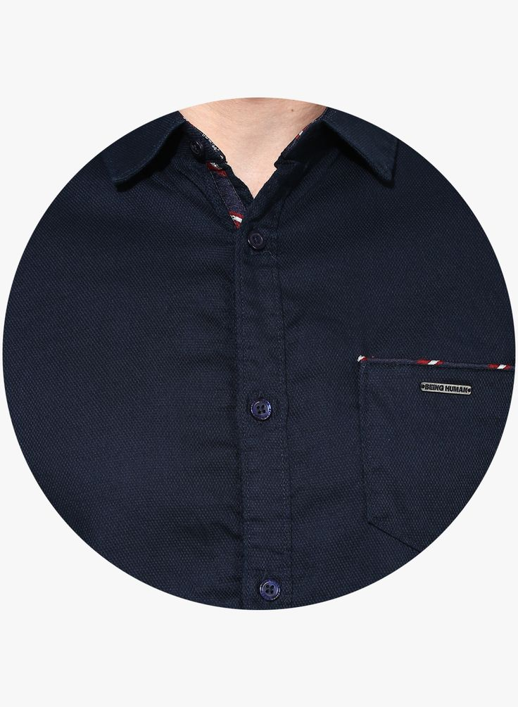 Buy Being Human Clothing Navy Blue Solid Slim Fit Casual Shirt for Men Online India, Best Prices, Reviews   BE163MA94WJLINDFAS