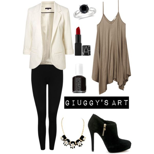 Ordinary at work by giuggysart on Polyvore featuring polyvore, moda, style, Wet Seal, M&Co, Ice and Essie