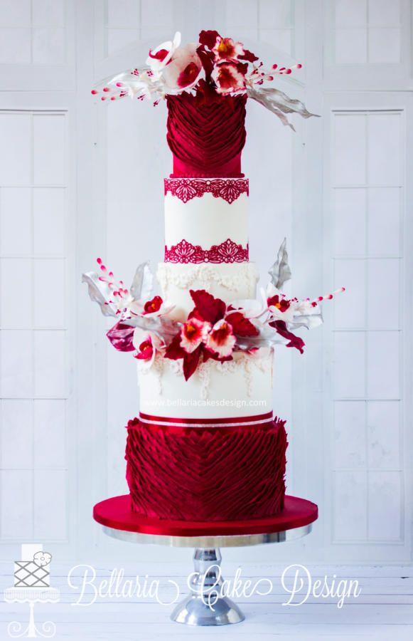 red passion wedding cake by bellaria cake design httpcakesdecorcom