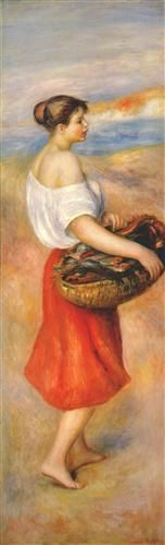 Girl with a basket of fish - Pierre-Auguste Renoir