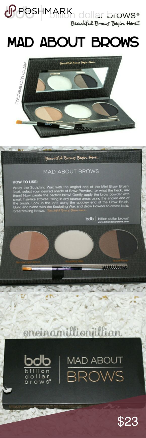 BDB Mad About Brows MUA Palette New - Never Used  Full Sz & Authentic  The brow palette includes 4 Brow Powder shades from their collection ☆ Taupe, Blonde, Light Brown & Raven. So whatever your brow color one of these will enhance them & make them pop whilst keeping the overall look natural. The beauty of having all the colors is that you can also mix them to adapt the color according to the occasion, season & your hair color. The palette also includes sculpting wax to keep the brows in…