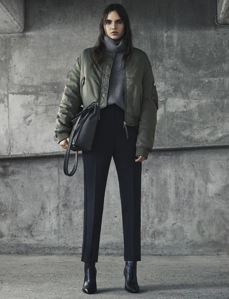 AllSaints Women's November Lookbook Look 1: Opex Bomber, Jago Roll Neck, Astara Trousers, Kita Cross Body Bag.