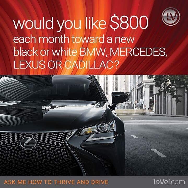 Would you like a free luxury car payment?  Would you like to work from home?  Join my team with the #1 Health and Wellness company today -  Free to join @ thrive_jonnell.le-vel.com