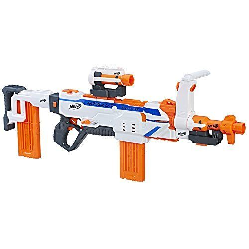 Nerf Modulus Regulator - Kids can build their blaster for any mission or battle with the fully motorized Nerf Regulator blaster! With SwitchFire Technology, choose 1 of 3 firing modes; flip the switch to choose single-fire to fire 1 dart per trigger pull; select burst-fire to blast several darts per trigger pull; and swi...