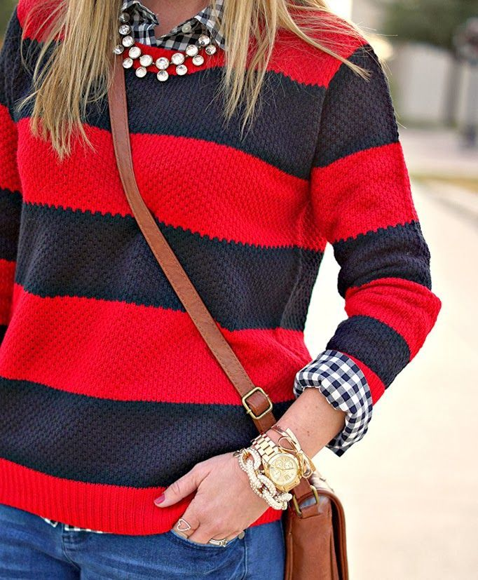 Rugby stripe sweater and gingham