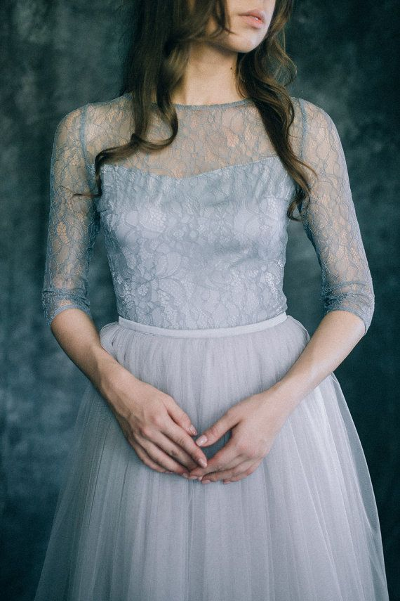 Wedding dress Grey Quartz Light blue grey by LiluBridal on Etsy