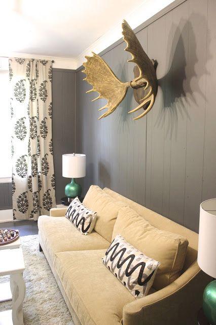 living room wall color, sofa, drapes, moose antler