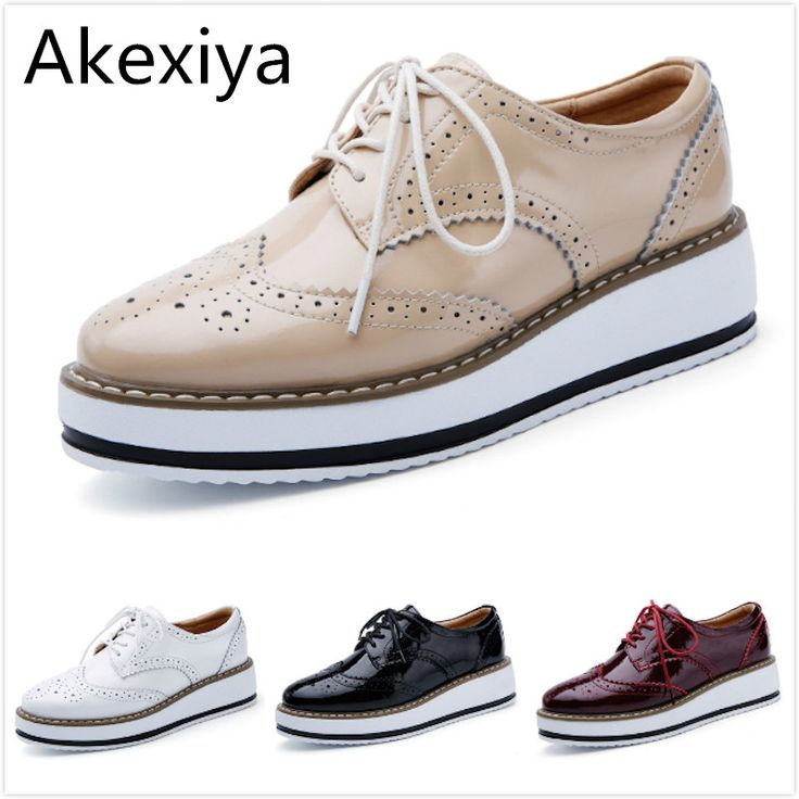 >> Click to Buy << Akexiya Women Platform Oxford Brogue Patent Leather Flats Lace Up Shoes Pointed Toe Creepers Vintage luxury beige wine red Black #Affiliate