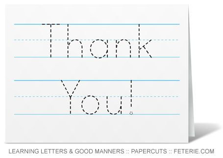 Trace-able Thank You Card template for beginning writers. My daughter will be doing these this week!