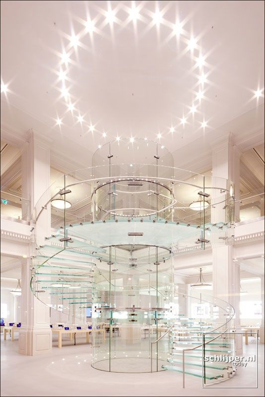 glass staircase at Apple's Amsterdam retail store.