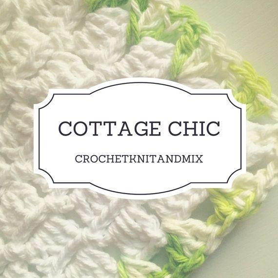 Washcloth White and Green Crochet Cottage Chic Vintage style Towel Bath Kitchen dish cloth Multipurpose washcloth
