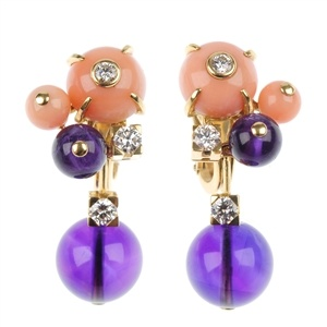 CARTIER - a pair of 18ct gold coral, amethyst and diamond ear pendants