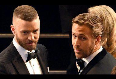 Justin Timberlake says hello to Ryan Gosling at Oscars