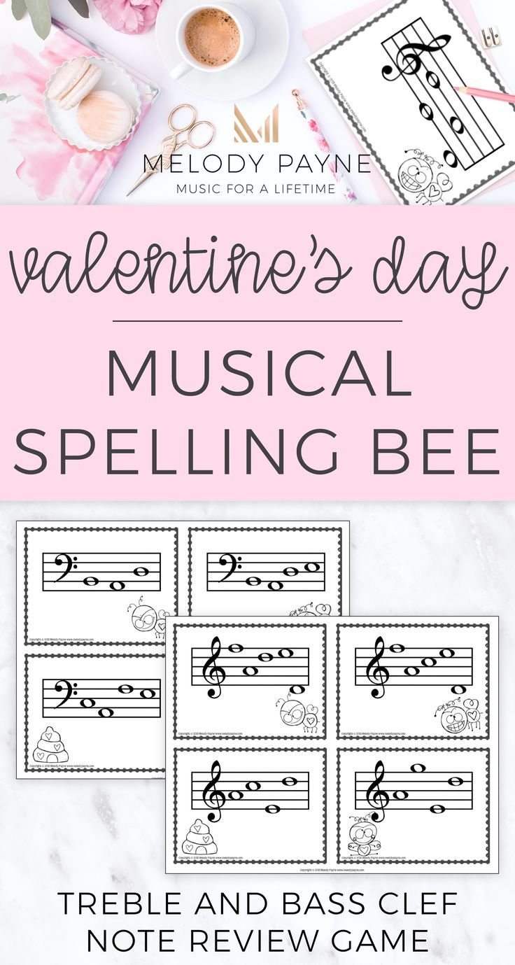 Spelling bees are so much fun, and what better way to review notes on the treble staff and bass staff than with this printable or projectable Valentine's Day Musical Spelling Bee game! Perfect for centers, group activities, piano lessons, the music classroom, music camps, and more! Great for single players or multiple players in the music classroom. Includes 80 words spelled on the music staff, assessments, certificates, and gameboard. Tons of fun for your kids!