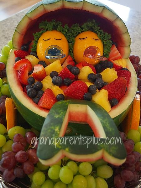Captivating Fruit Salad For A Baby Shower! Baby Buggy From A Watermelon And Babies From  Lemons