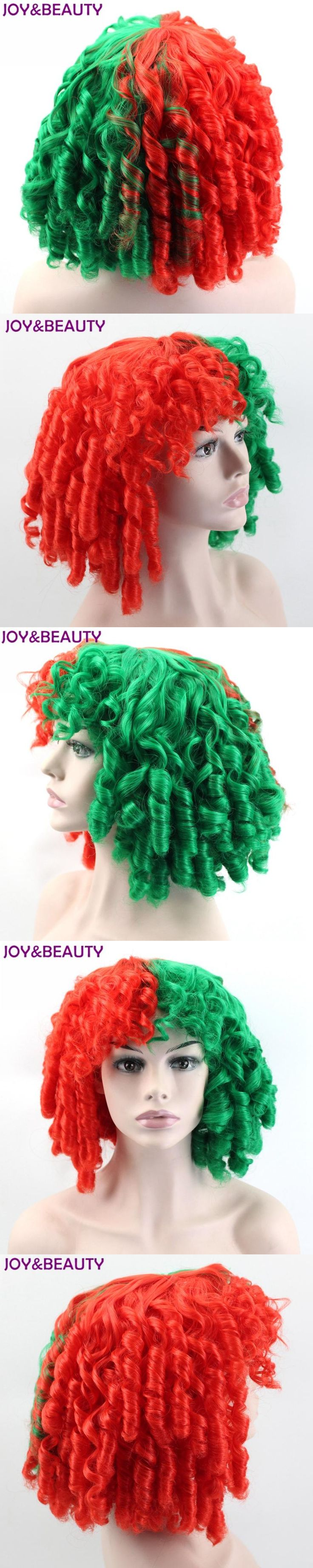 "JOY&BEAUTY Short Loose Wave Synthetic Hair Sia Wig Red/Green 14"" High Temperature Fiber For Cosplay Wigs"