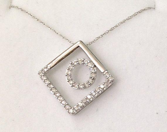 1/2 Carat Diamond Circle in Square Pendant - 10K White Gold $425