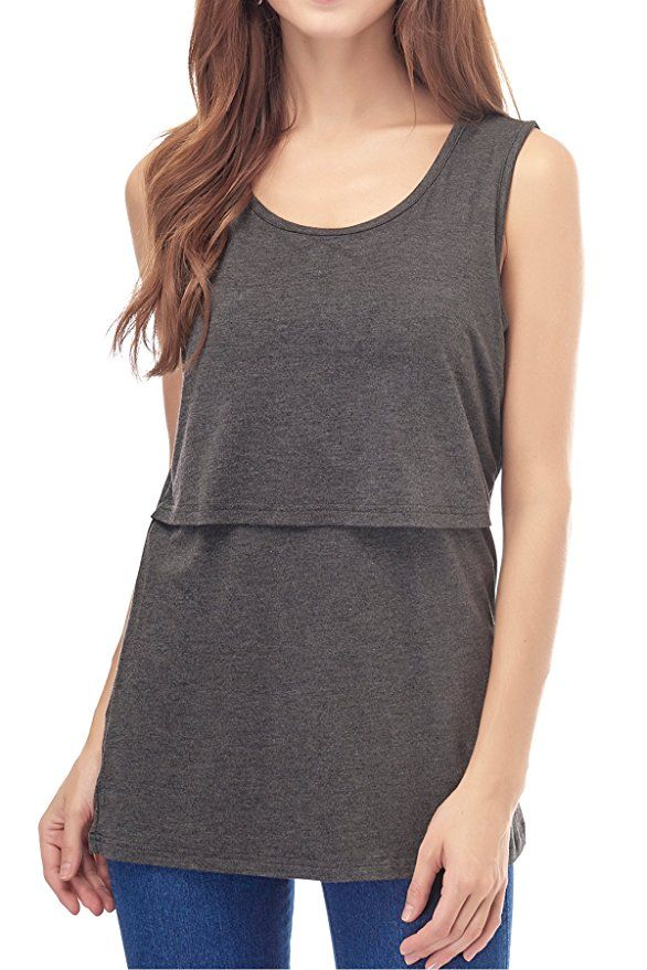 87c9f68b384 Smallshow Women's Modal Sleeveless Maternity Nursing Tank Tops Large,Deep  Gray
