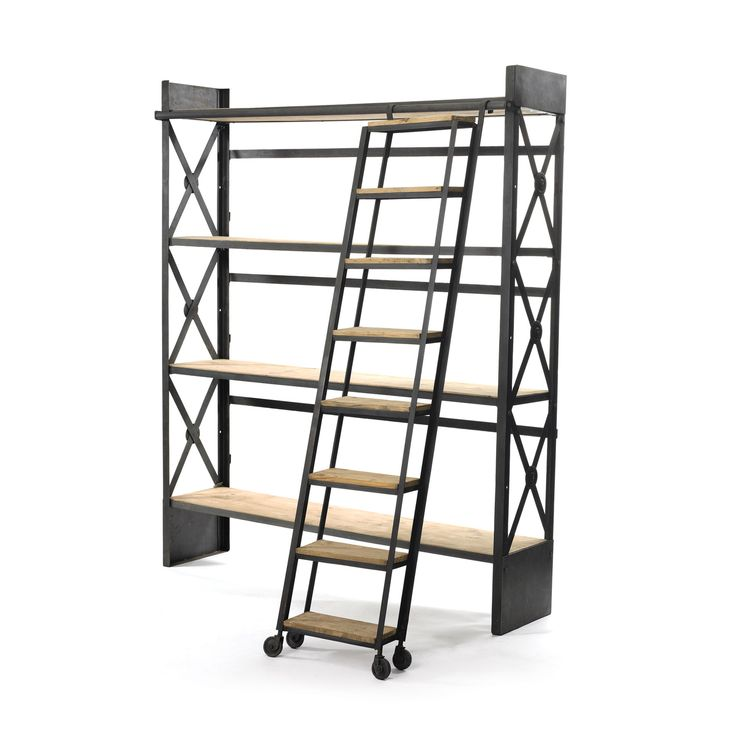 Even an industrial loft space becomes a luxurious library with this oversized bookshelf. The cross-barred metal sides and wood shelves coordinate with a matching rolling ladder perfect for living out y... Find the Industrial Bookcase with Library Ladder, as seen in the Our Favorite Industrial Designs Collection at http://dotandbo.com/collections/our-favorite-industrial-designs?utm_source=pinterest&utm_medium=organic&db_sku=GHL0006