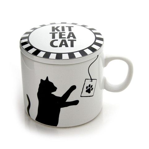 Kit Tea Cat Tea Cup With Lid | Our Name is Mud