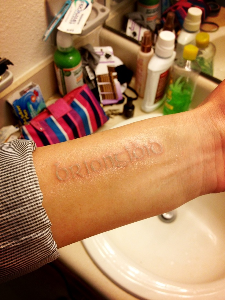 """My latest addition: All white tattoo. """"Briongloid""""; dream in Gaelic"""