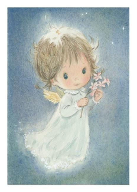 Vintage Angel Christmas Card (Australian Waxflowers)