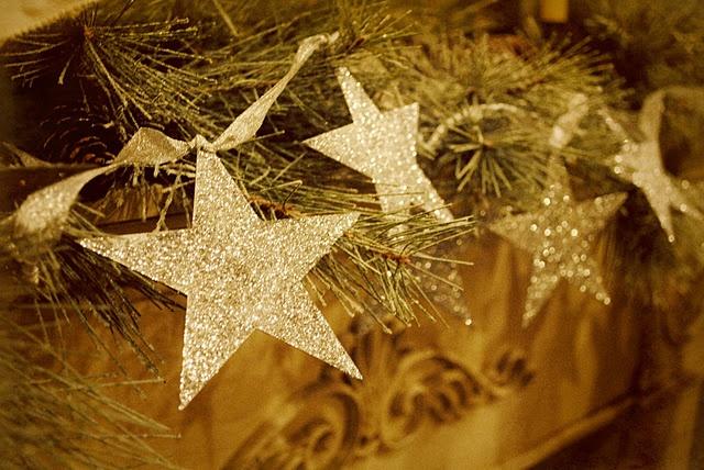 Glittered star garland