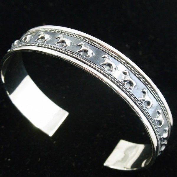 Sterling Silver Running Horses Cuff Bangle - Sterling Silver - Jewellery