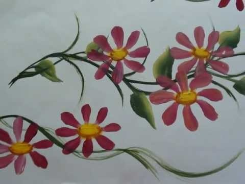 One stroke painting of flowers