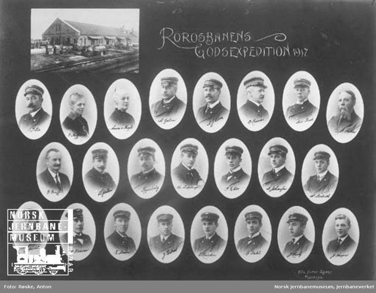 Fotomontasje med portretter av ansatte ved Rørosbanens godsekspedisjon i Trondheim @ DigitaltMuseum.no
