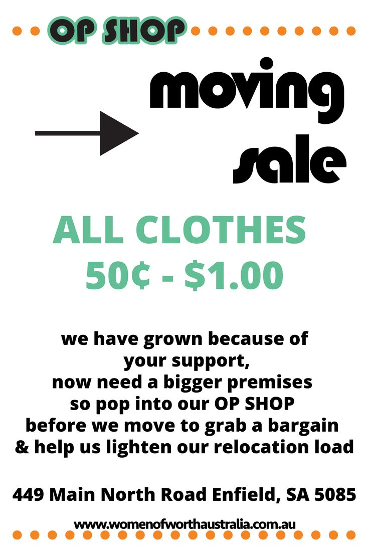 We're Moving - New Store Opens 1st Week of Nov. Grab a #bargain All Clothes 50c - $1. #OPShop #Adelaide #Sale