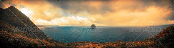 Caribbean Sea and Island Panorama