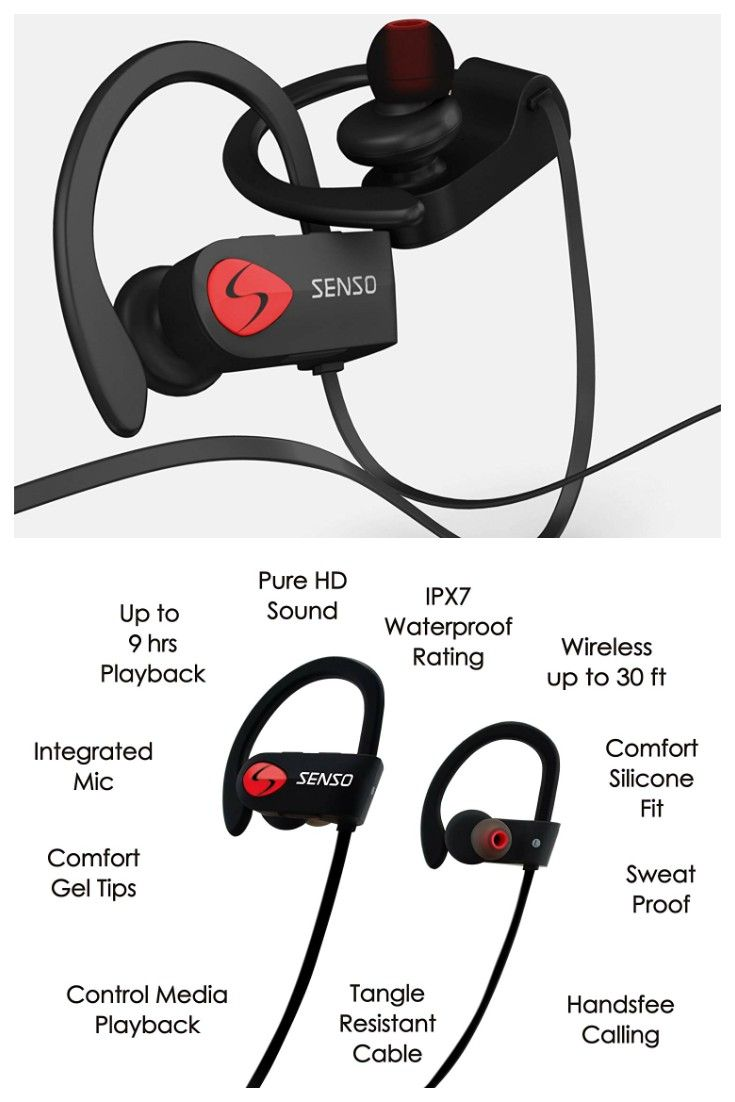 best service f49dd 8875e SENSO Bluetooth Headphones, Best Wireless Sports Earphones w/Mic ...